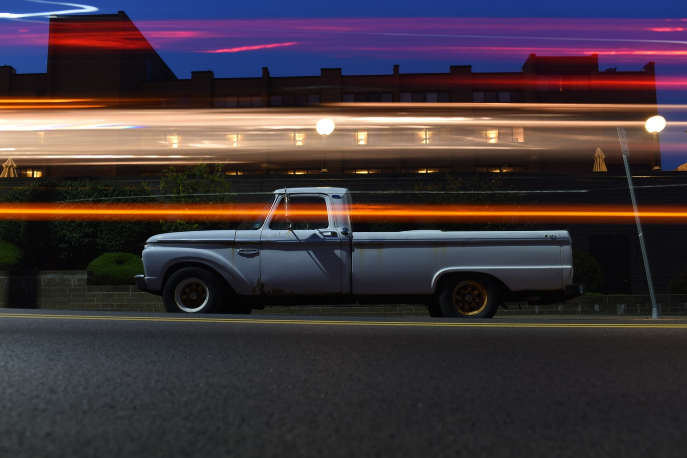 Photo of a Truck with Artistic Light Streaks